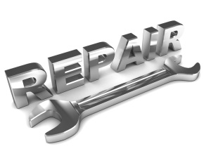 3d illustration of steel repair sign and wrench